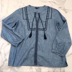 J. Crew Blue Top 3/4 sleeve Embroidered